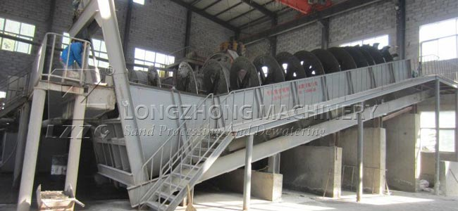 Screw sand washing machine can dispose the large amount of sand easily.